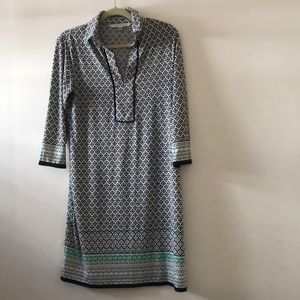 Patterned 3/4 sleeve dress with collar
